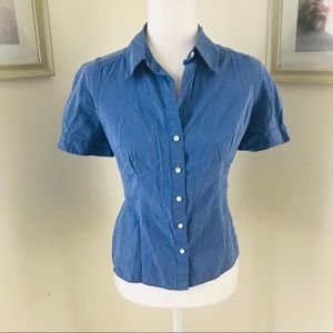 LOFT | Blue Short Sleeve Button Down Blouse